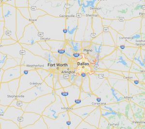 map of Dallas & Fort Worth pool fence area in North Texas