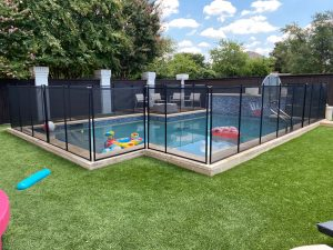 custom black mesh pool fence installation Dallas, TX